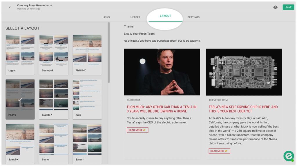 Preview of available layouts for email newsletter