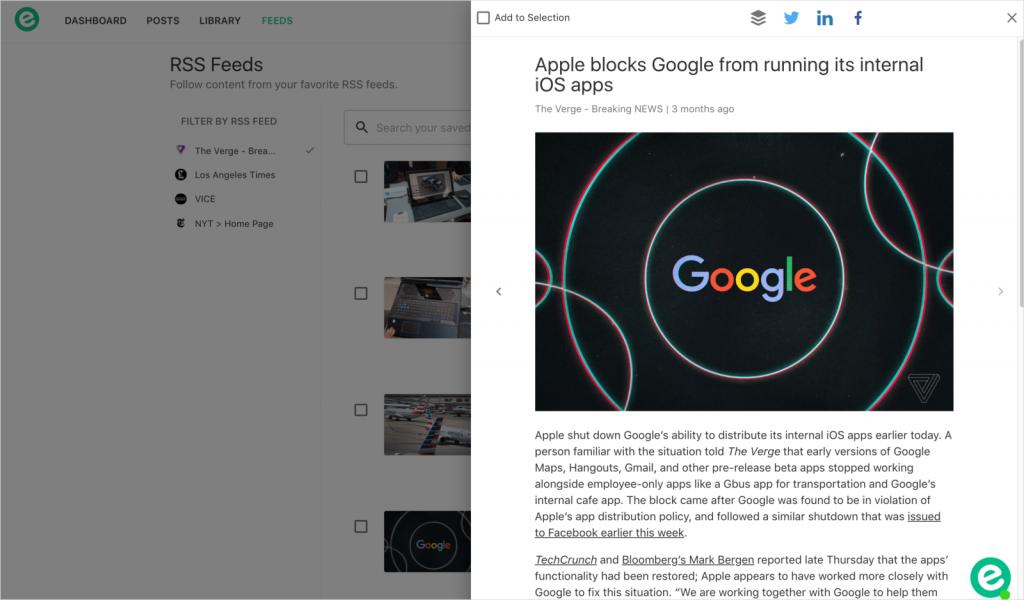 Elink.io: Google reader alternative