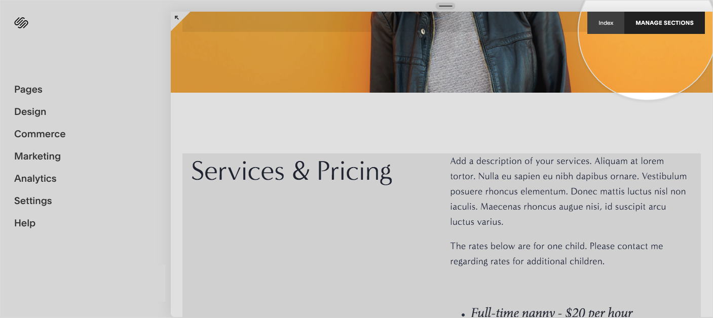 Preview of manage sections in squarespace website