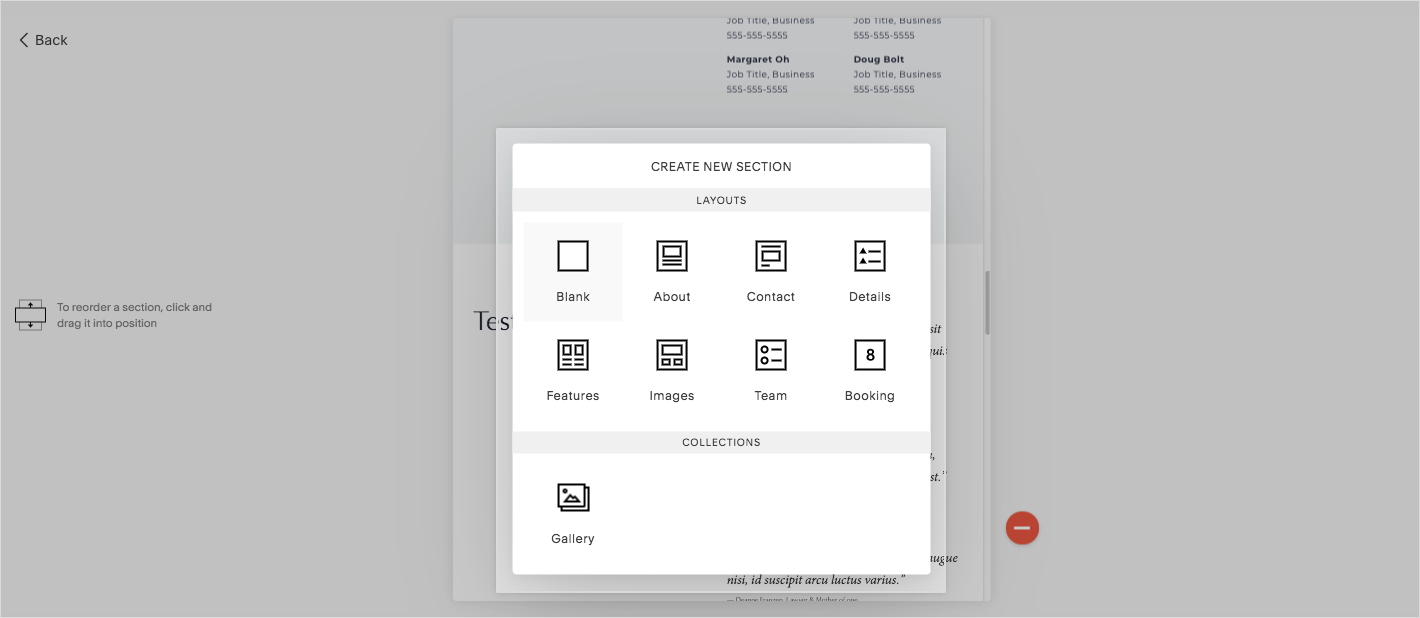 Preview of creating new sections in squarespace website
