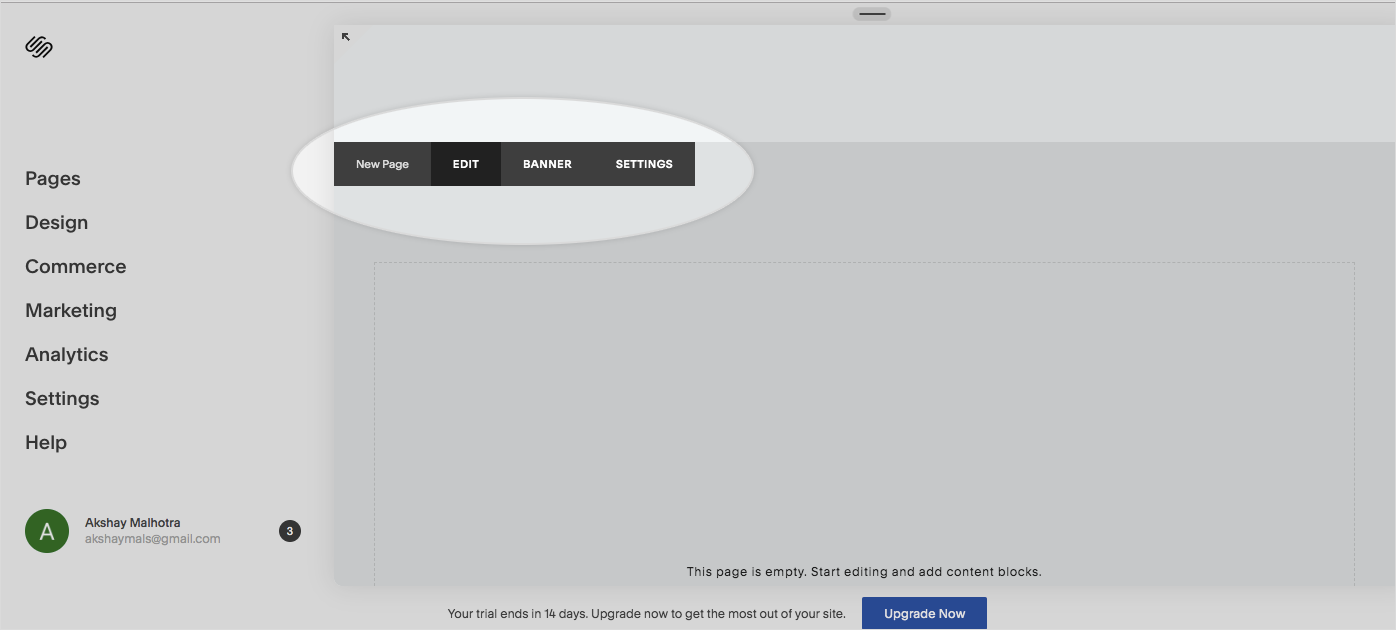 Preview of edit button in squarespace website