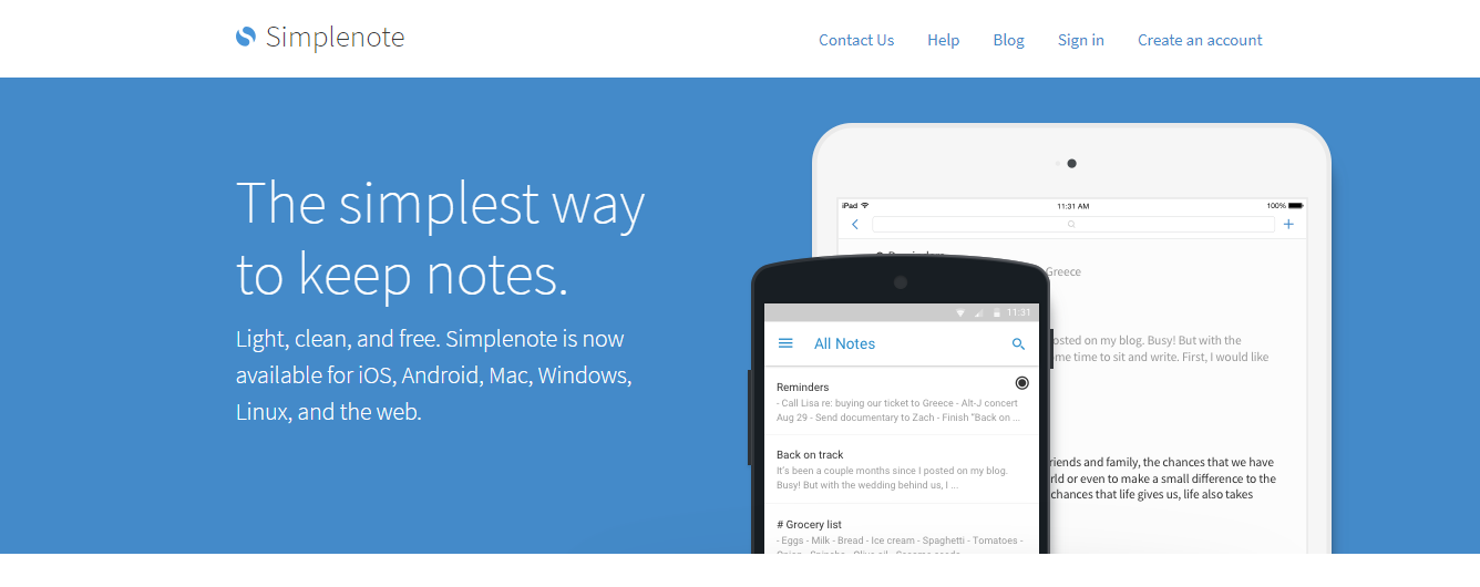 Simplenote: Note taking app for students