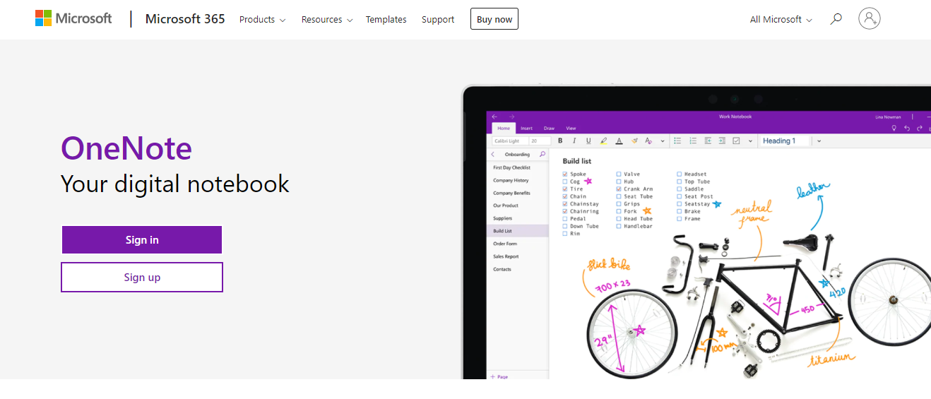 OneNote: Note taking app for students