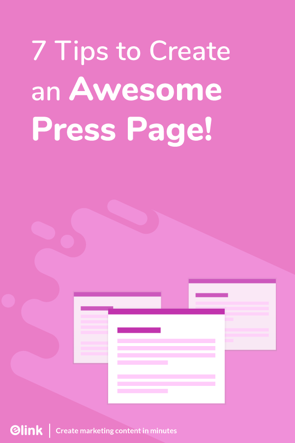 Tips for creating press pages - pinterest
