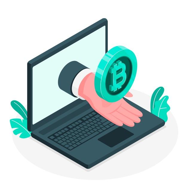 A hand holding a bitcoin