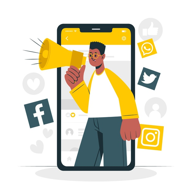 A marketer doing promotion on social media