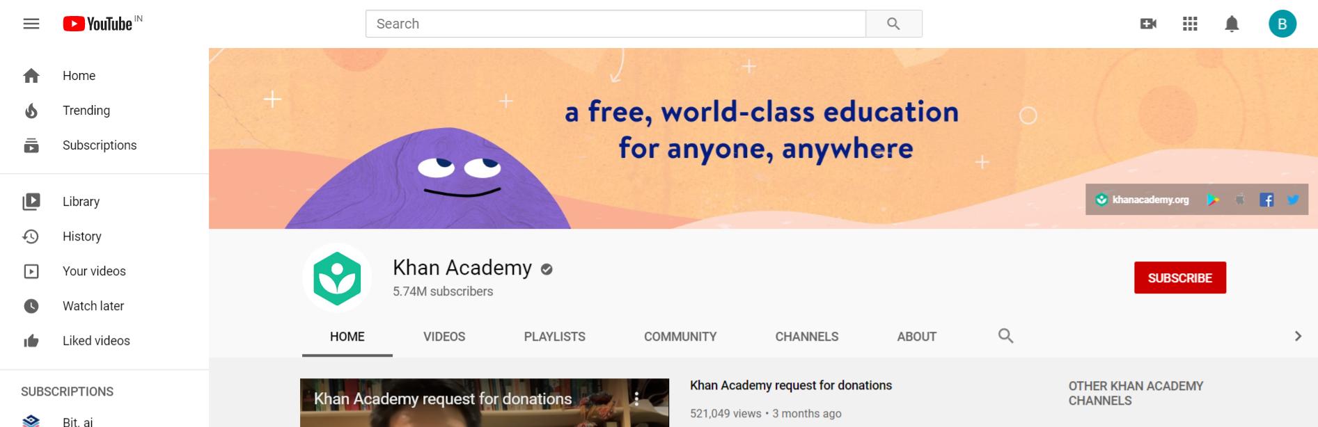 Khan academy: Edtech youtube channel