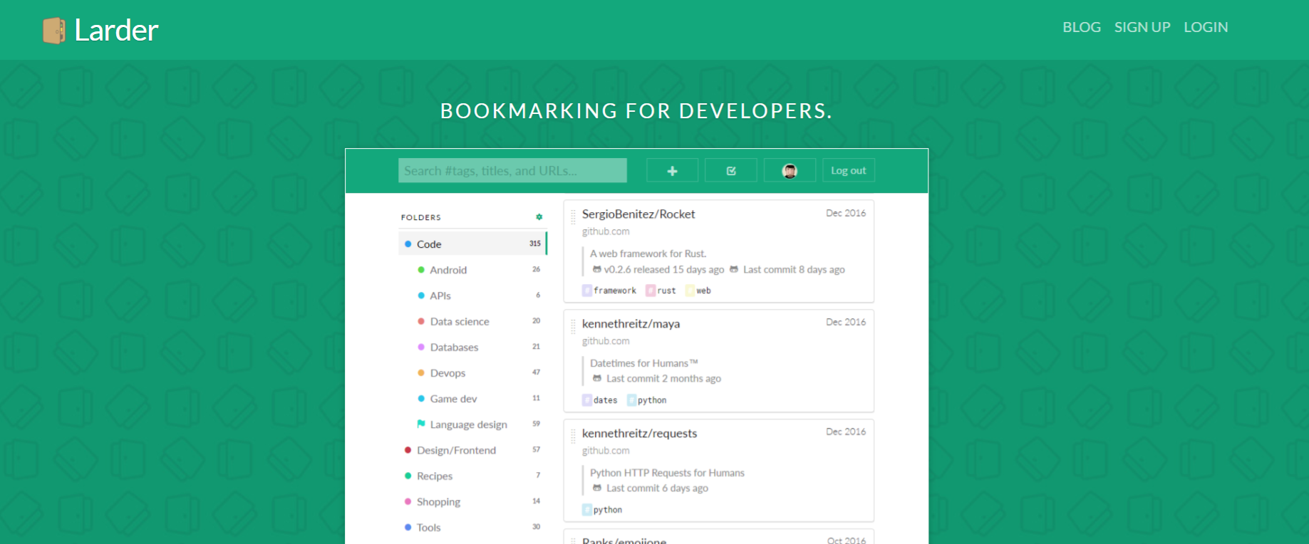Larder: Collaborative bookmarking tools