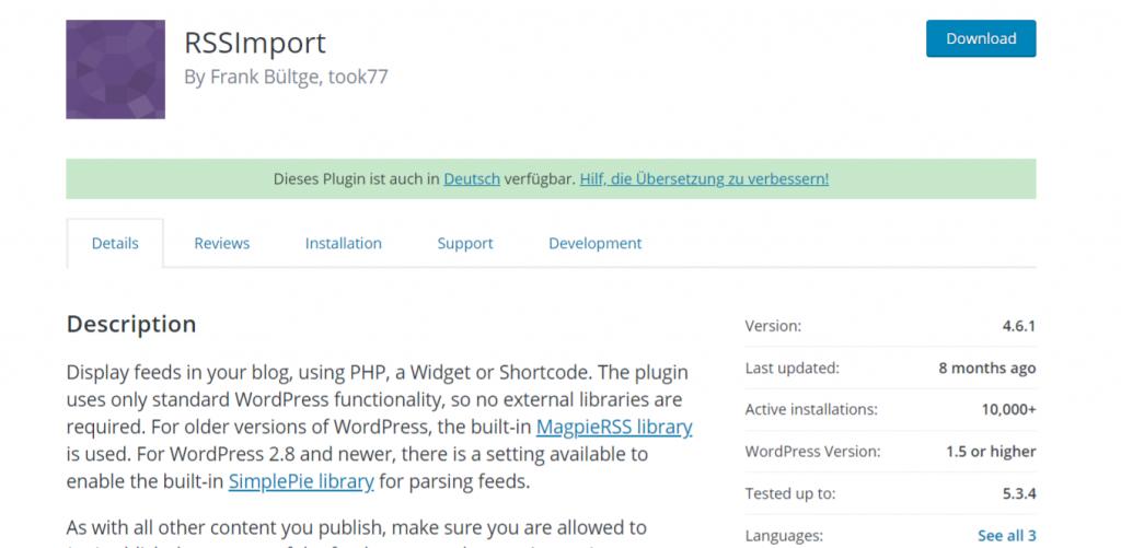 Rss Import: Autoblogging plugin and tool