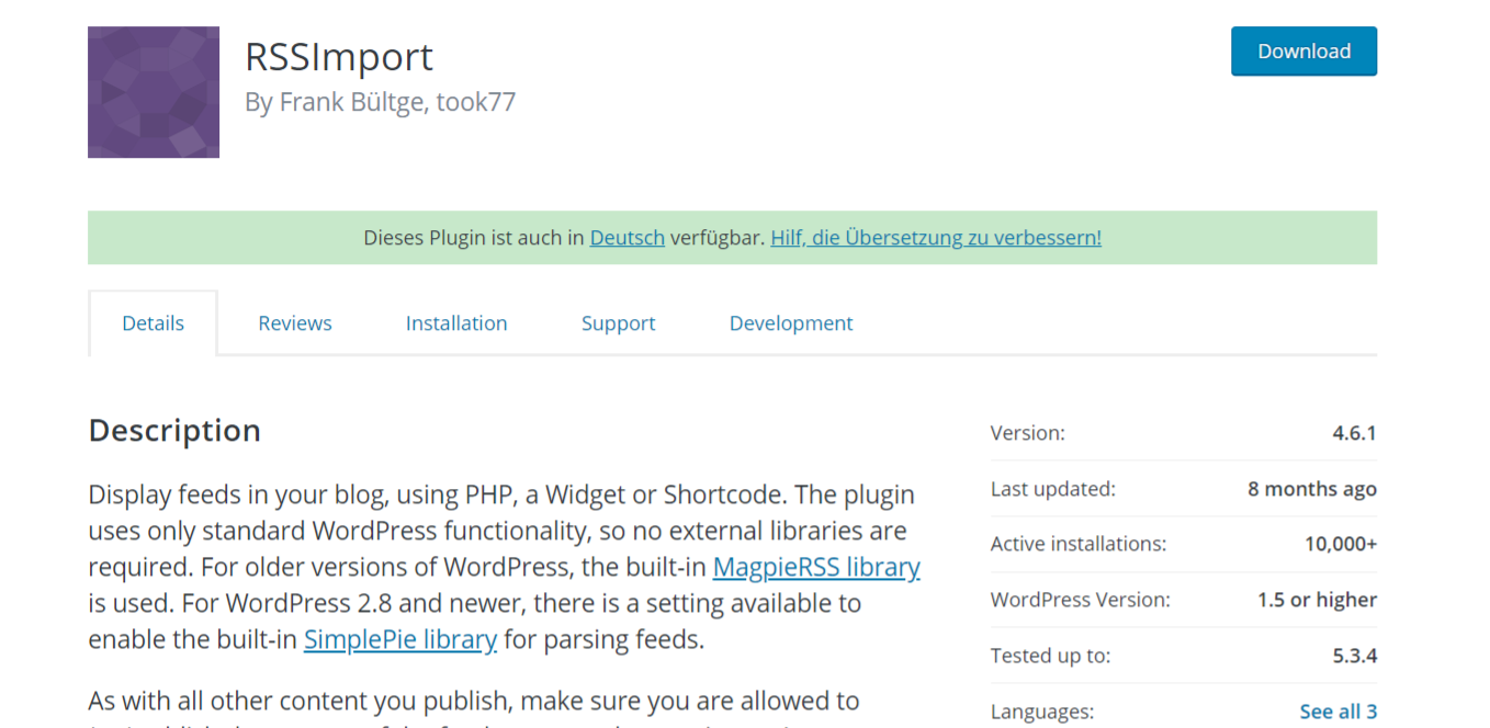 Rss Import: Autoblogging plugin and tool