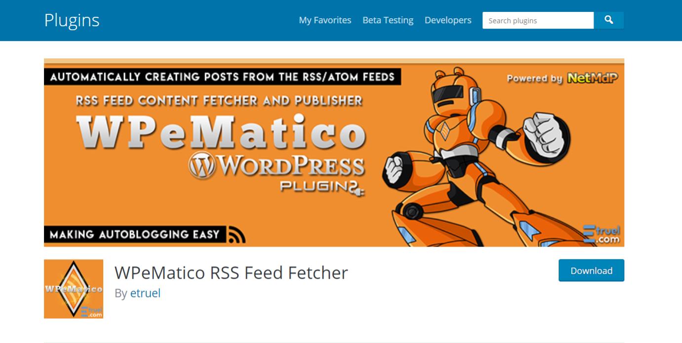 Wpemetico: Autoblogging plugin and tool