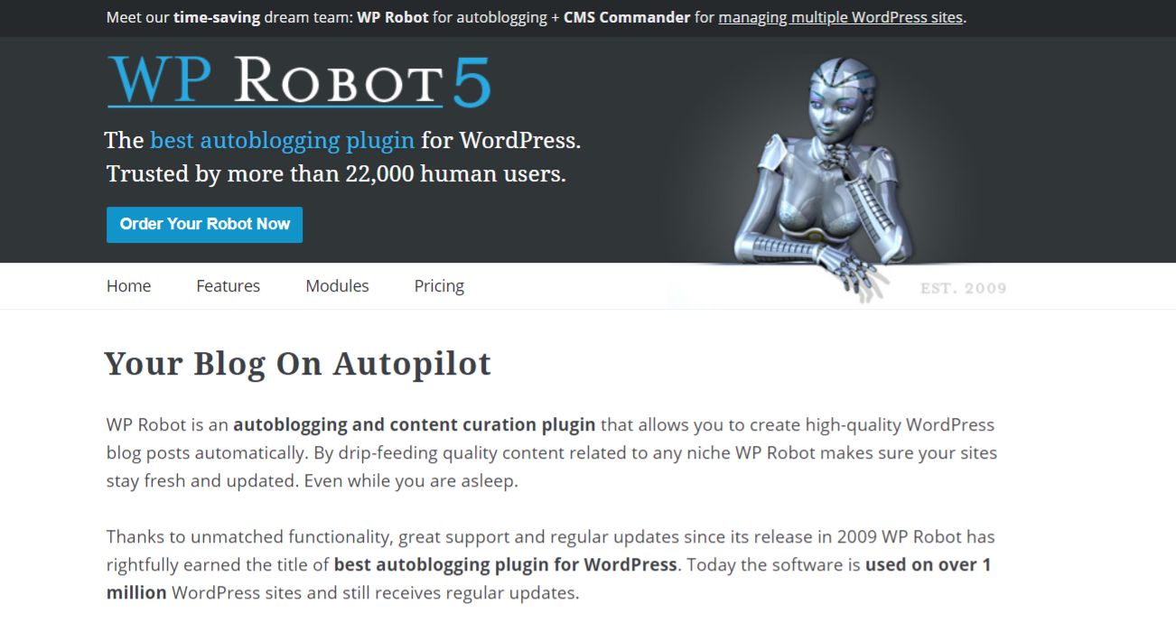 Wp Robot autoblog plugin