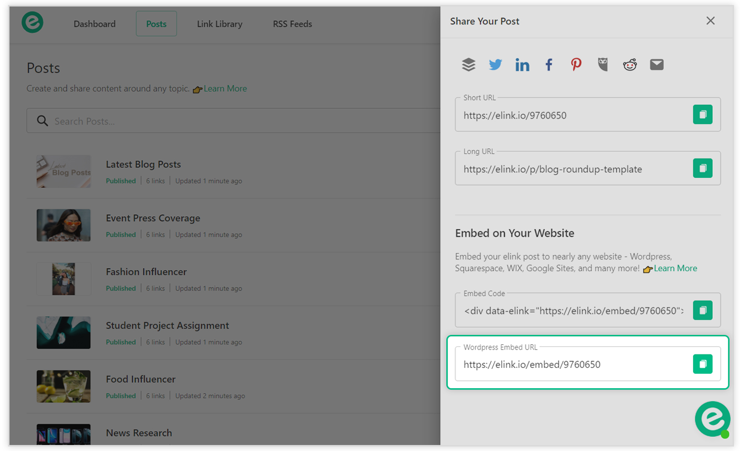 Preview of wordpress embed code for rss feeds post