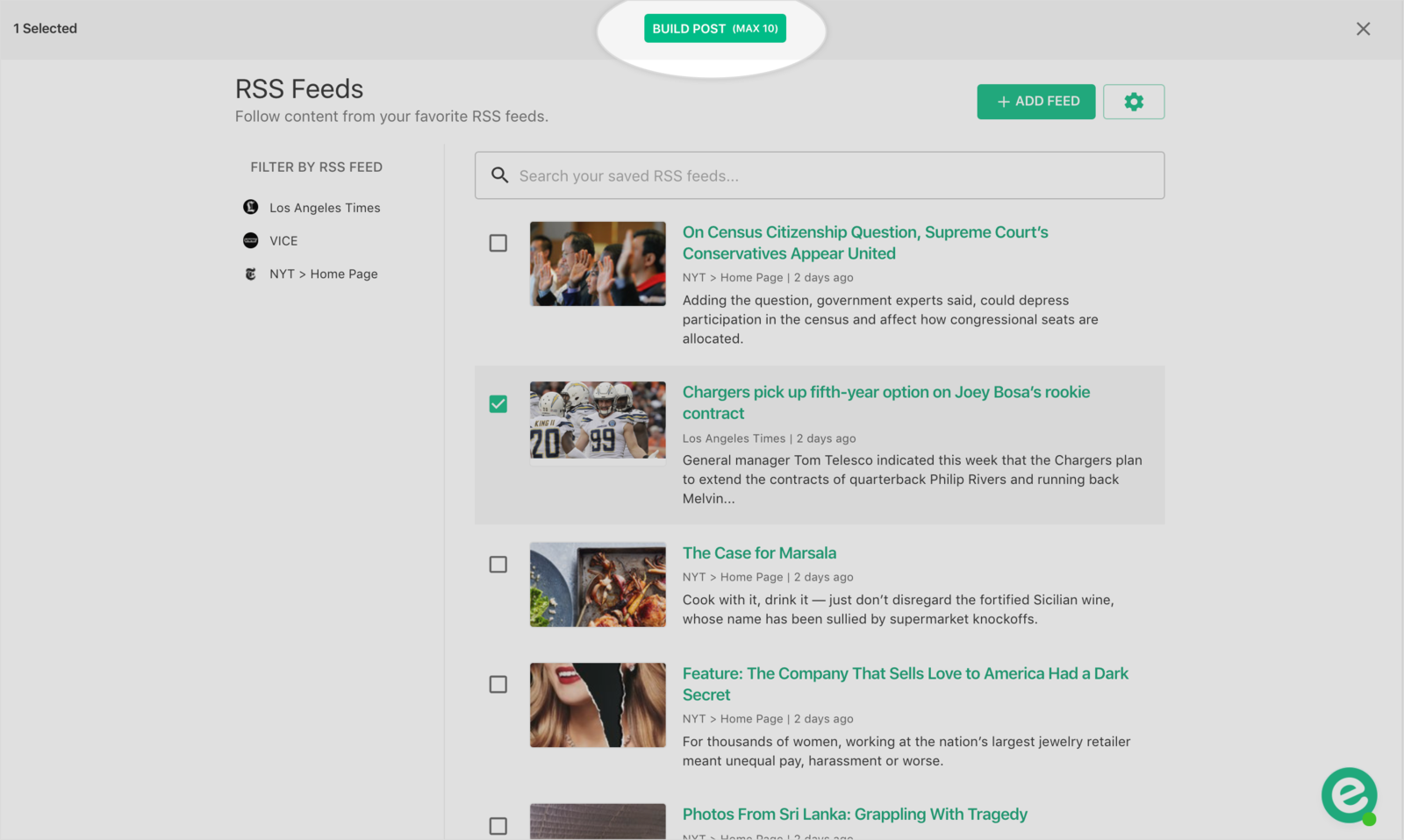 """Preview of """"build post"""" from rss feeds tab"""