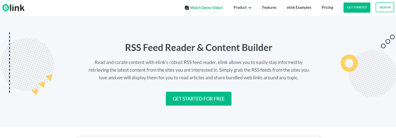 Elink.io: Rss feed reader and content builder
