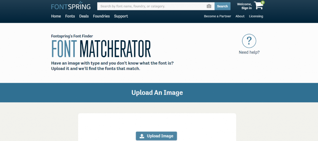 Fontspring matcherator: Tool for identifying and finding font in image
