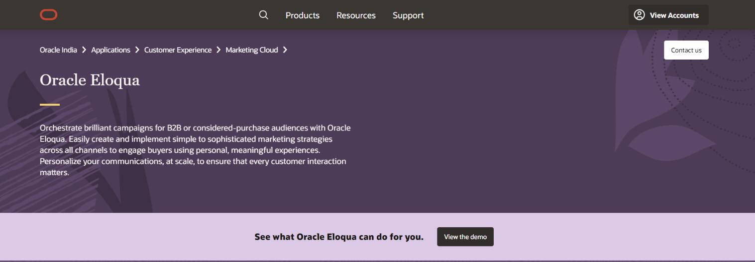 Oracle eloqua: Digital marketing automation tool