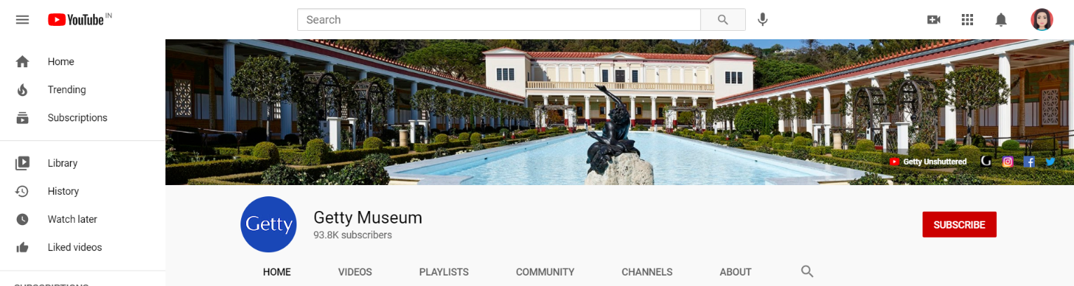 Getty Museum: Art youtube channel