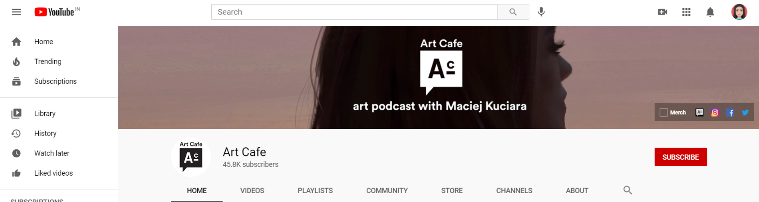Art Cafe: Art youtube channel