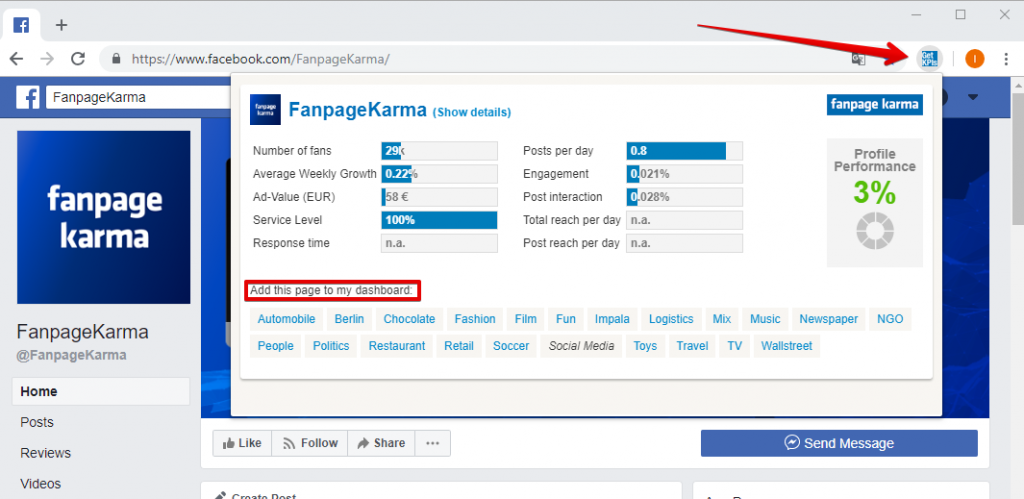 Fanpage karma: Competitor research and analysis tool