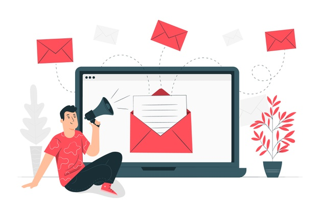 A marketer sending out email newsletters