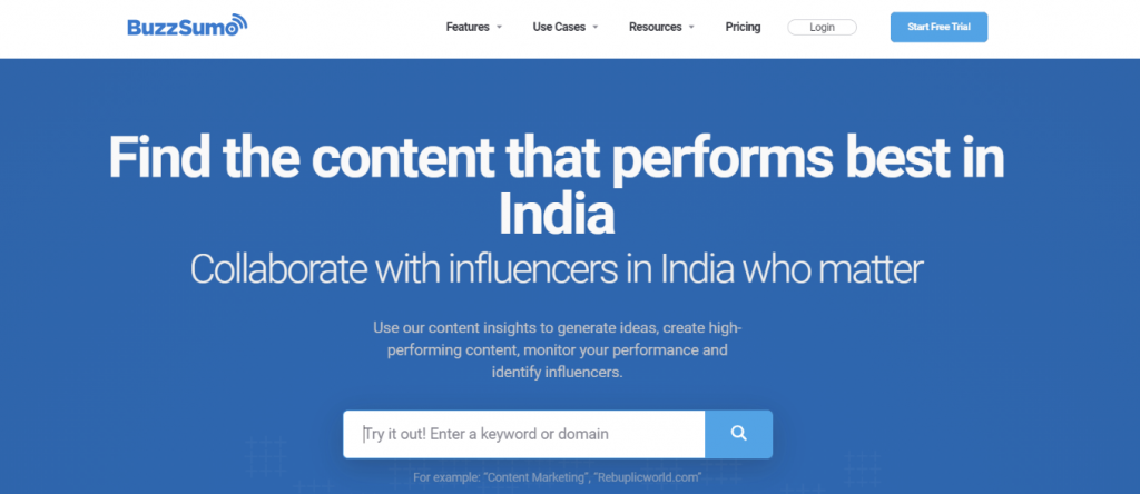 Buzzsumo: Competitor research and analysis tool