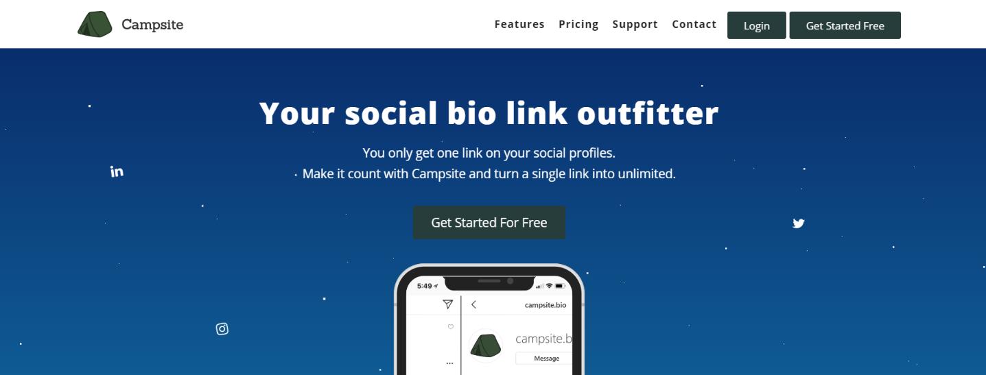 Campsite: Instagram bio link tool
