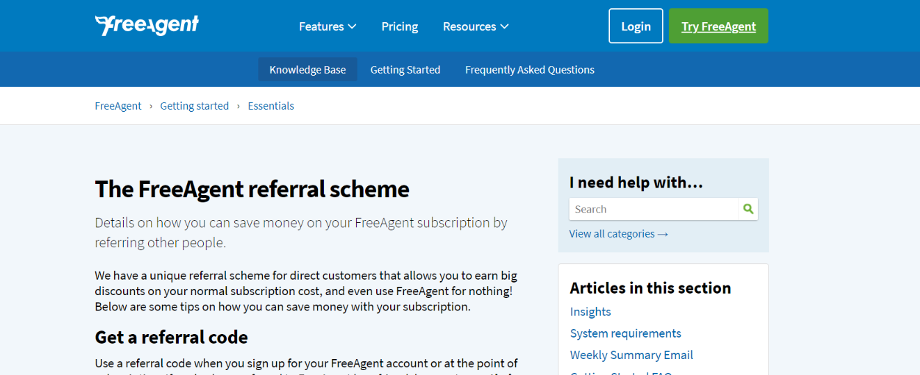 Freeagent: Referral program