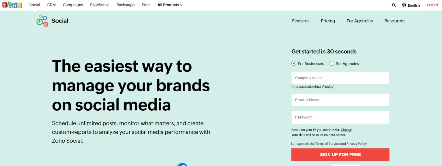 Zoho social: Social media analytic tool