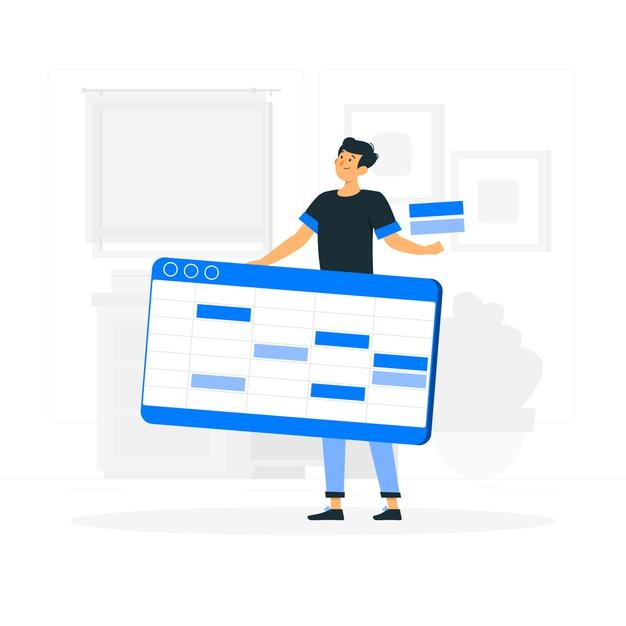 A boy creating spreadsheet