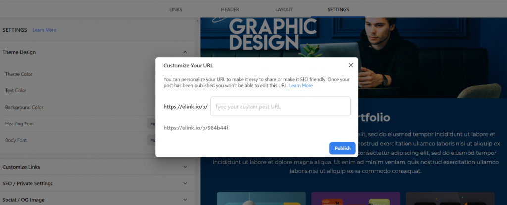 Preview of publishing image slider