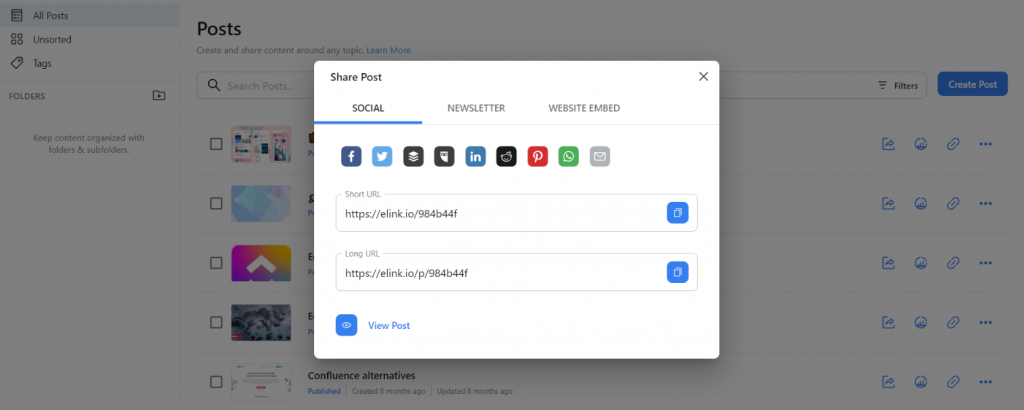 Preview of sharing options available