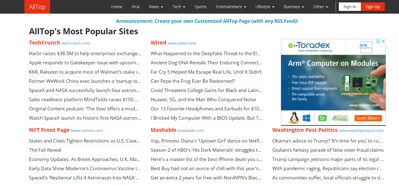 Alltop: News aggregator website