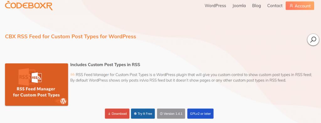 CBX rss feed: WordPress Rss feed plugin