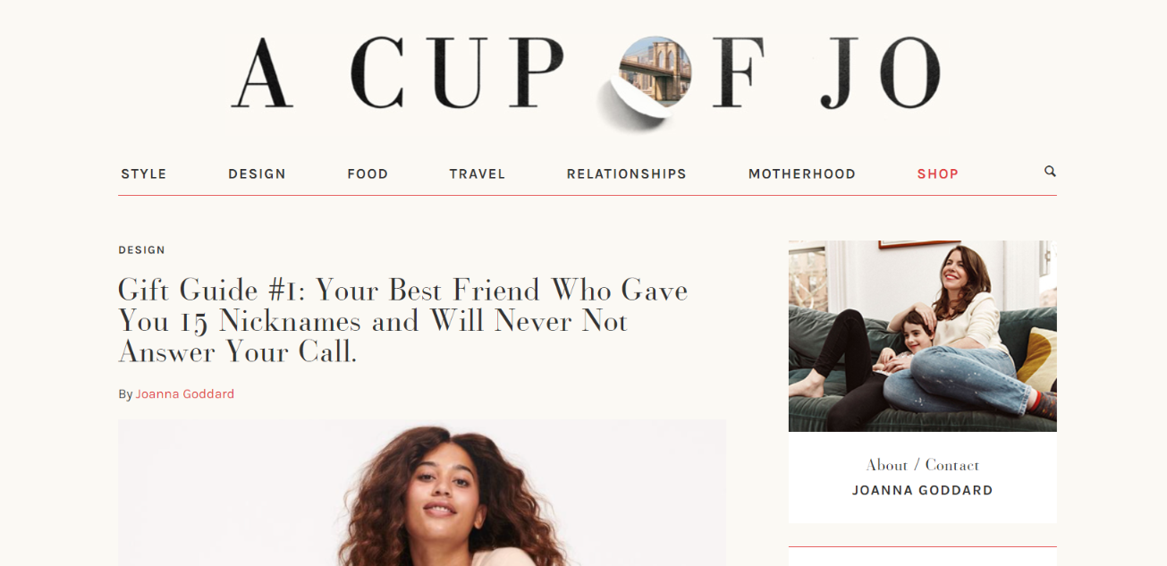 Cup of Jo: Women blog and website