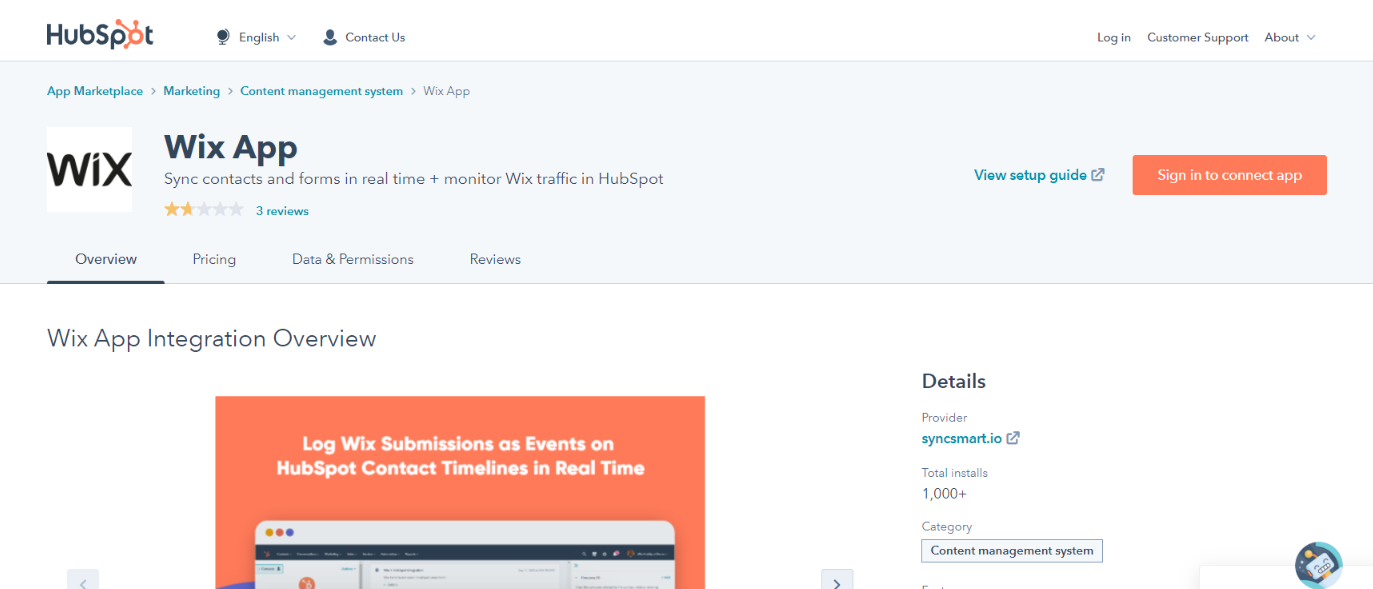 Hubspot and wix integration