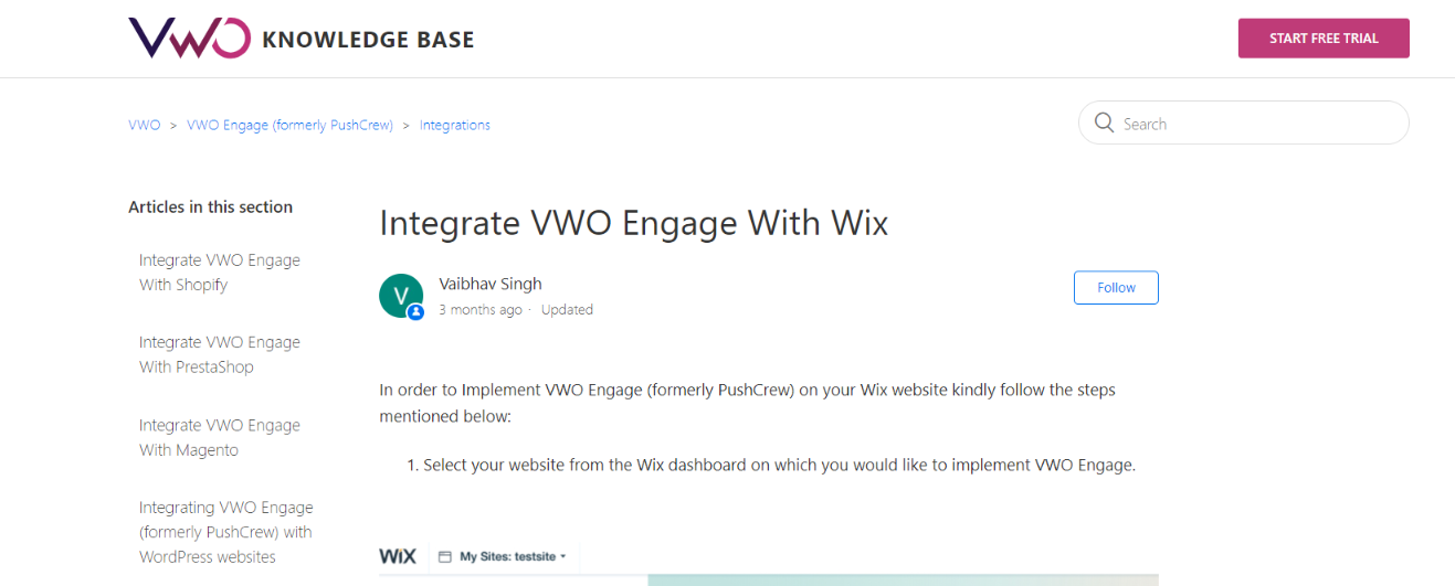 Vwo and wix integration