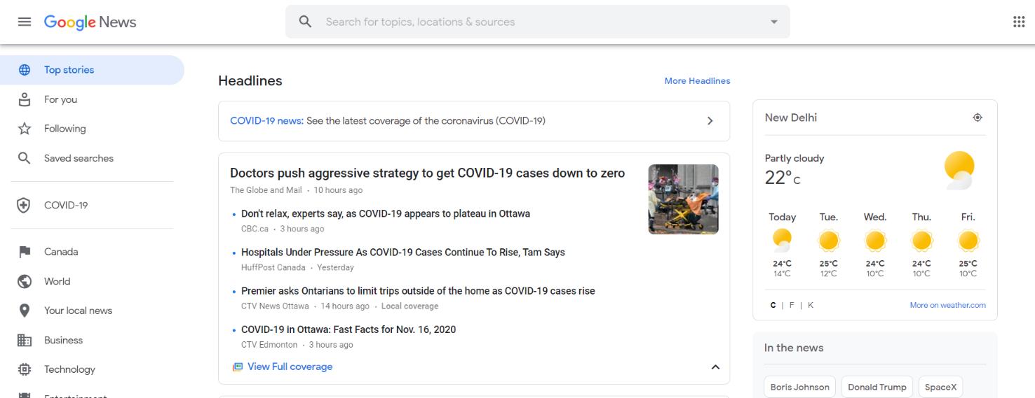 Google news: News aggregator website