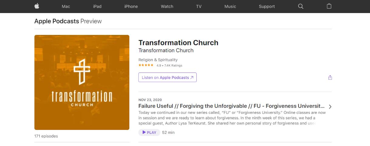 Transformation church: Christian podcast