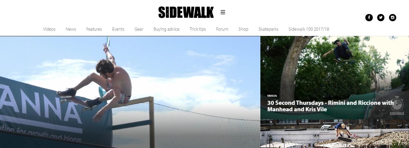 Sidewalk; Skateboard magazine and publication
