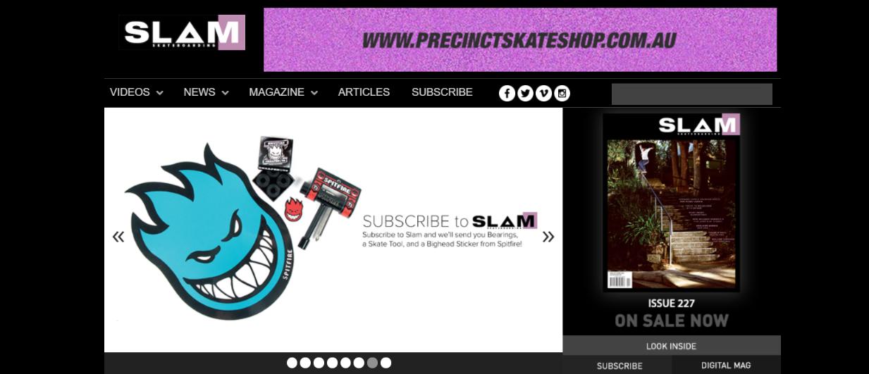 Slam skateboard magazine and publication