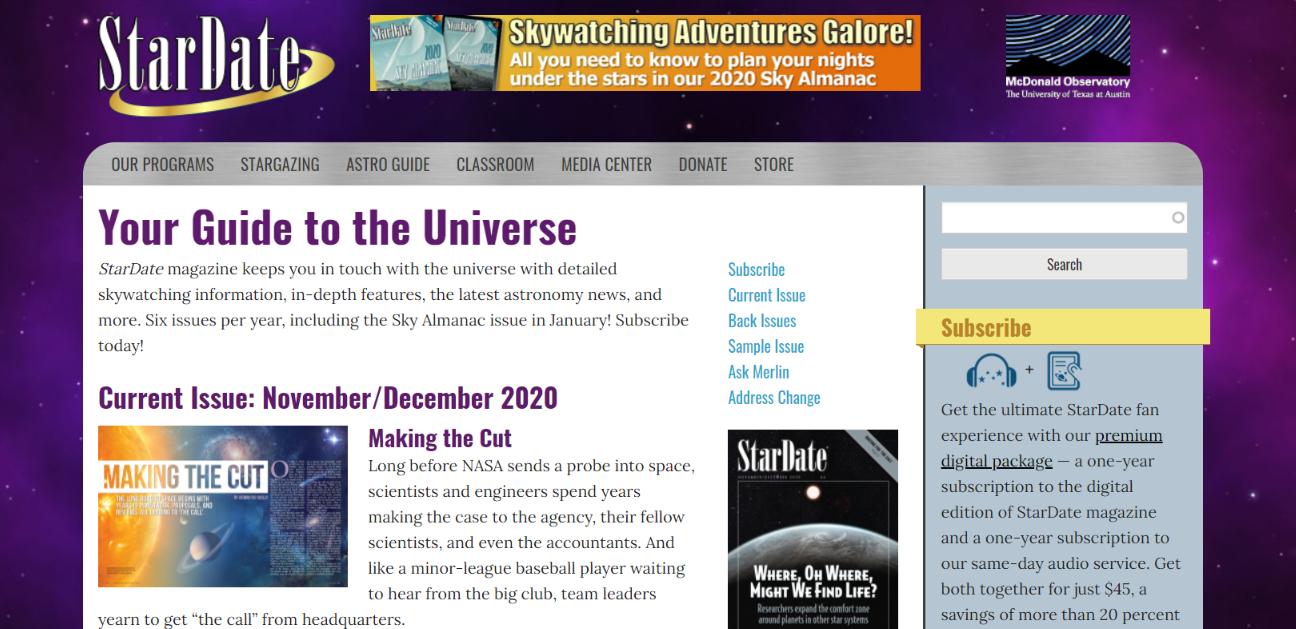 Stardate magazine: Astronomy magazine and publication