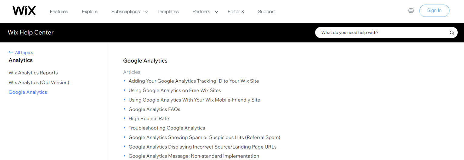 Google analytics and wix integration