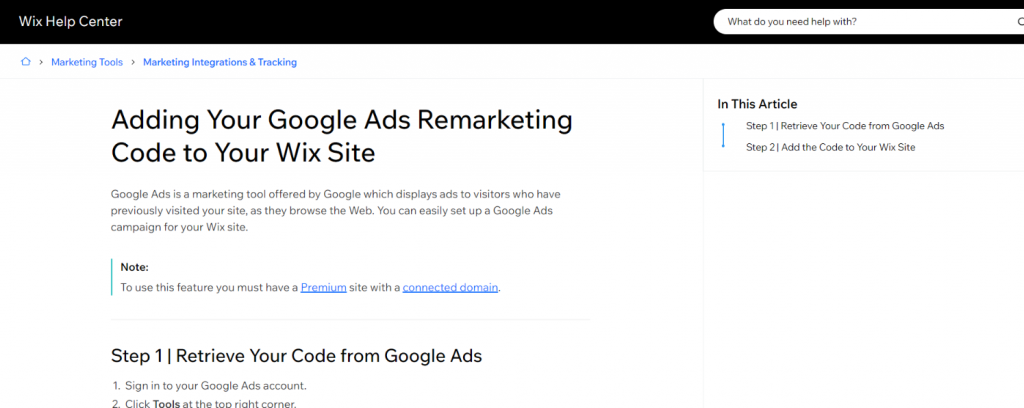 Google ads and wix integration