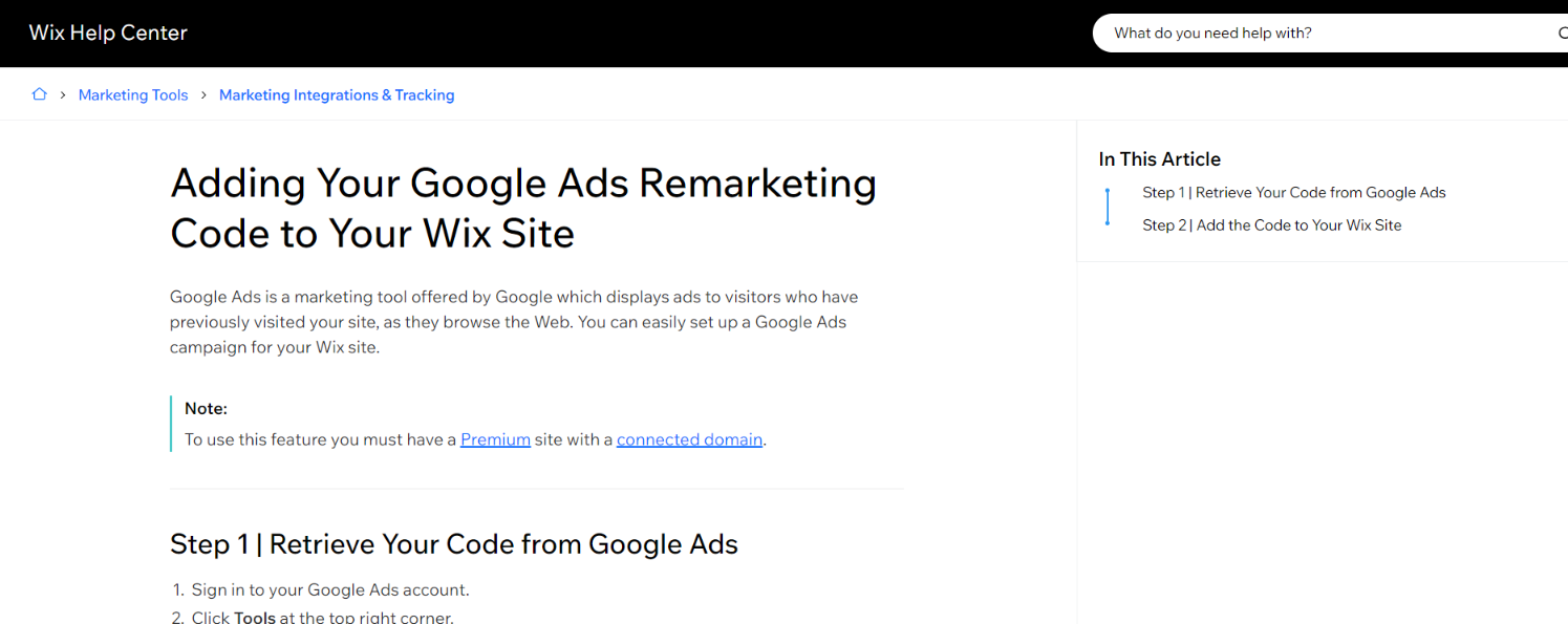 Google ads and wix integration