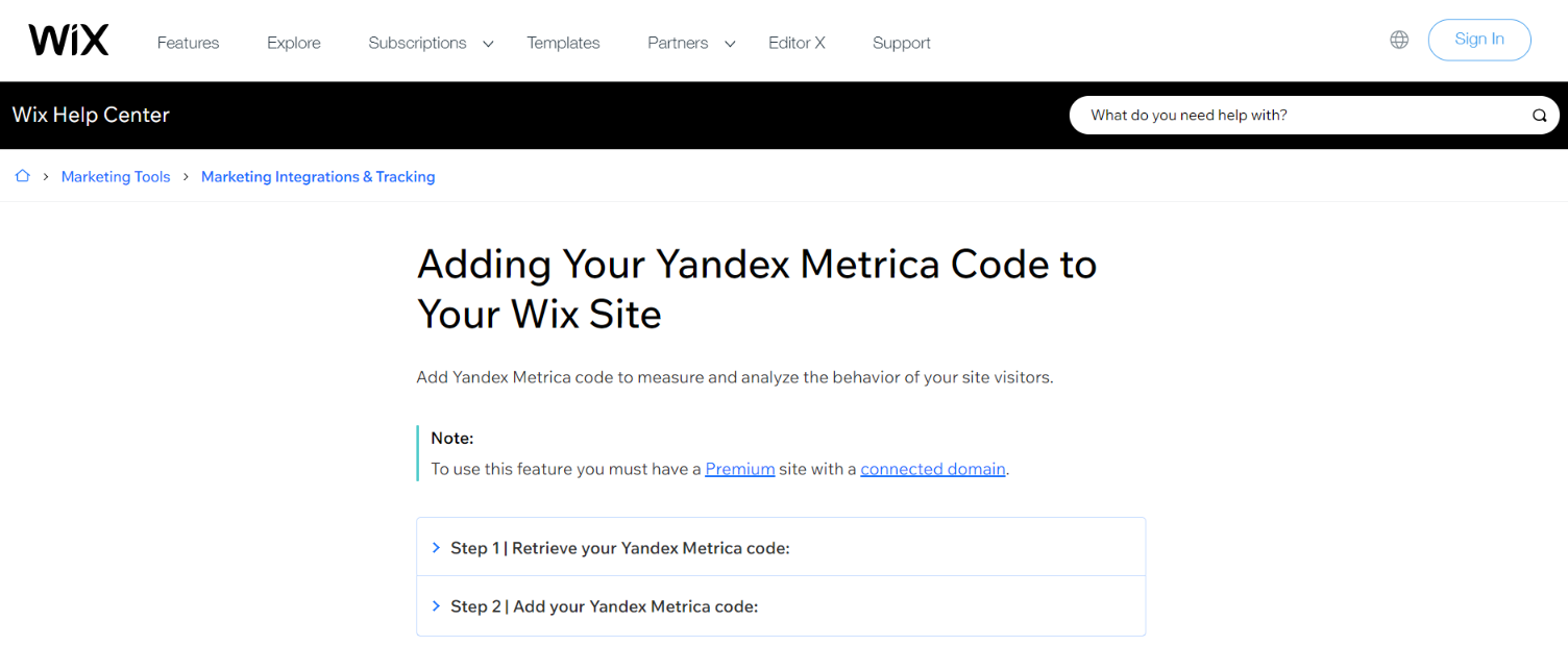 Yandex metrica and wix integration