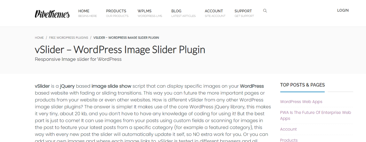 vSlider:  WordPress slider and carousel plugin