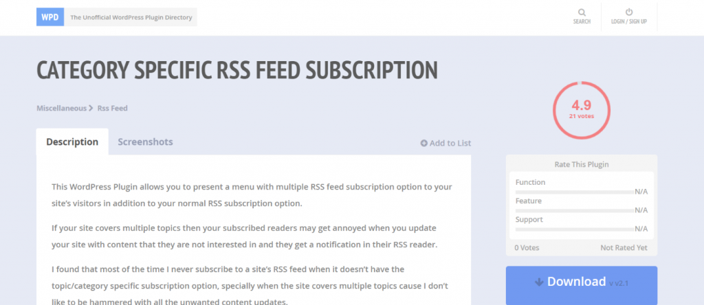 Category Specific rss feed subscription: WordPress Rss feed plugin