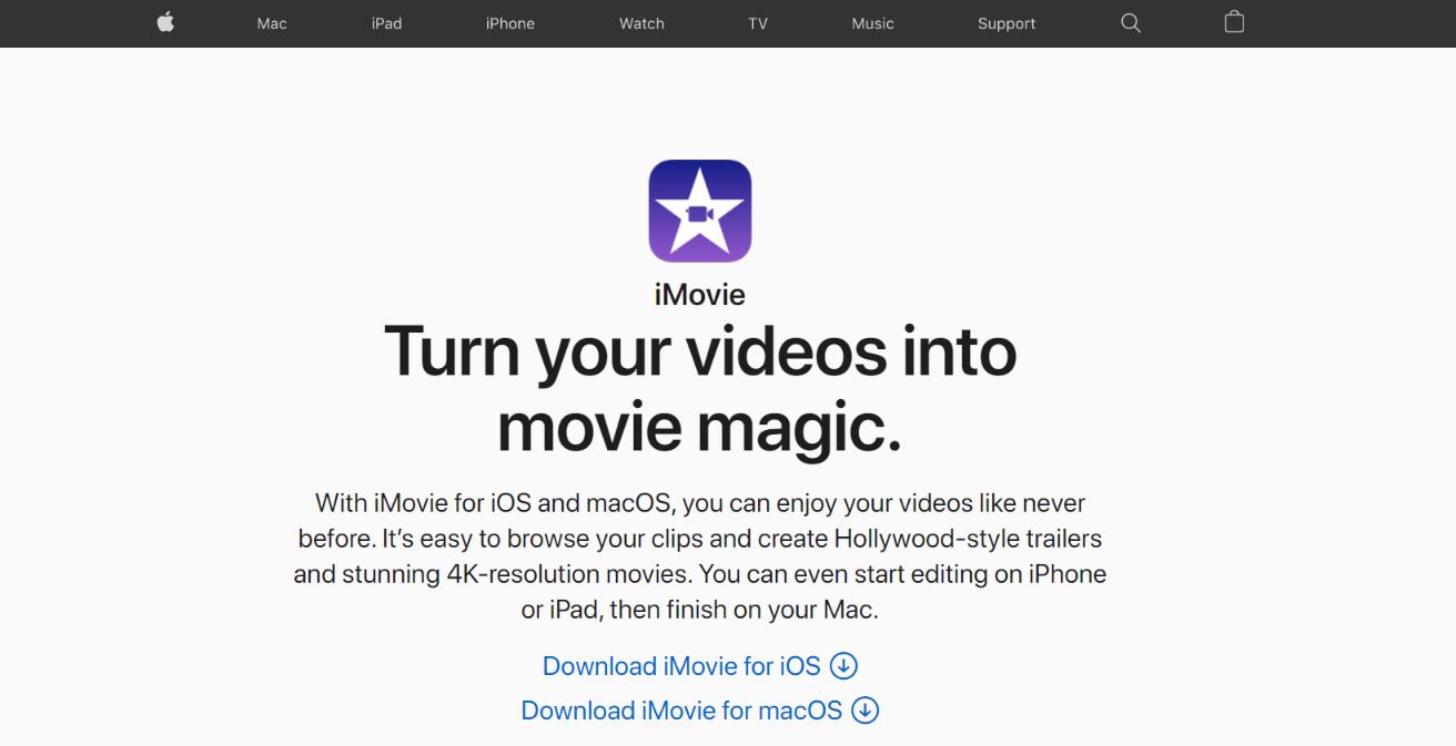 Apple imovie: Content creation tool