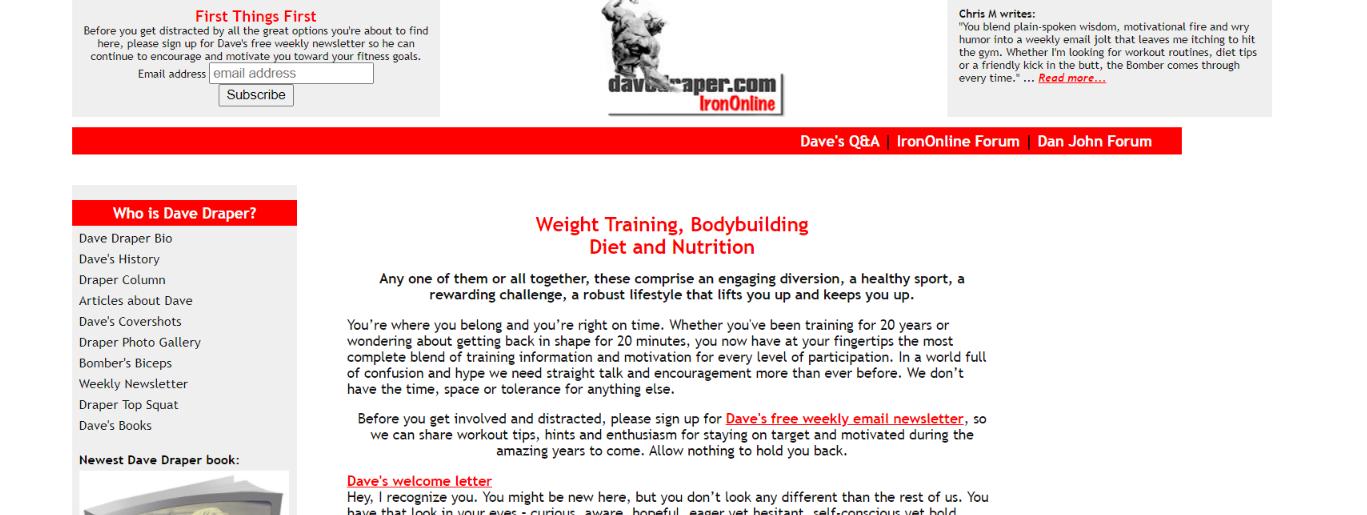 Dave drapper: Bodybuilding blog and website